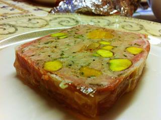 Pork,pistachop and apricot terrine