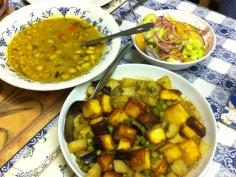 Panner with peas, dal with coconut