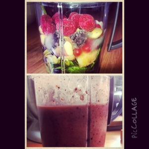 Spinach, Raspberry, Peach and sunflower seed nutribullet